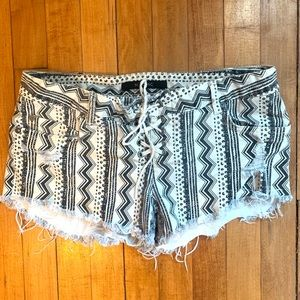 Black and White Patterned Denim Shorts